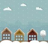 Kleurrijke Eco-Huizen, de Winterthema Stock Afbeeldingen
