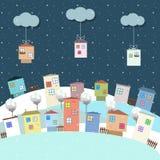 Kleurrijke Eco-Huizen voor Verkoop, Real Estate, Kerstmisgiften royalty-vrije illustratie