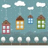 Kleurrijke Eco-Huizen voor Verkoop, Real Estate, Kerstmisgiften Stock Foto's