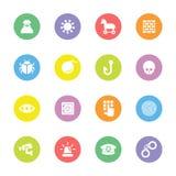 Kleurrijke eenvoudige vlakke pictogramreeks 7 op cirkel Stock Foto's