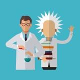 Kleurrijke Einstein en wetenschappelijk ontwerp stock illustratie