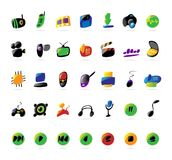 Kleurrijke elektronika, apparaten en muziekpictogrammen Stock Afbeeldingen
