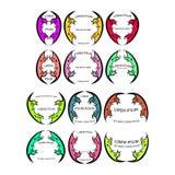 Kleurrijke embleemreeks Stock Foto