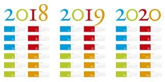 Kleurrijke en elegante Kalender jaren 2018, 2019 en 2020 Stock Afbeeldingen
