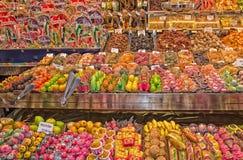 Kleurrijke en heerlijke cakes, koekjes en snoepjes Stock Fotografie