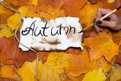 Kleurrijke en heldere achtergrond van de herfstbladeren de inschrijving is de herfst op perkamentperkament door een vrouwen` s ha Stock Afbeelding