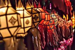 Kleurrijke en traditionele lantaarns tijdens Loy Kratong-festival in Thailand, Azië royalty-vrije stock fotografie