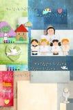 Eerste de engel van de Heilige Communie en van de kinderenuitnodiging kaart verticaal Stock Afbeeldingen