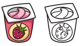 Kleurrijke en zwart-witte yoghurt voor het kleuren van boek Stock Foto's