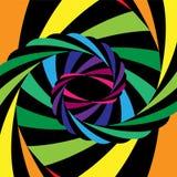 Kleurrijke en Zwarte Gestreepte Draaikolk die aan het Centrum samenkomen Optische illusie van Diepte en Motie Stock Afbeeldingen