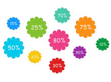Kleurrijke etiketten met kortingen stock illustratie