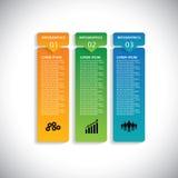 Kleurrijke etiketten met opeenvolging van stappen - infographic vector stock illustratie