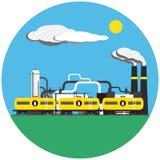 Kleurrijke fabriek met treinbeeld in rond Stock Foto's