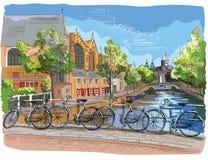 Kleurrijke Fietsen op brug over de Onder- kanalen van Amsterdam, vector illustratie