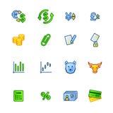 Kleurrijke financiënpictogrammen Royalty-vrije Stock Foto