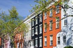 Kleurrijke flatgebouwen in het Dorp van Greenwich, de Stad van New York Stock Afbeeldingen