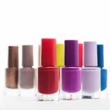 Kleurrijke flessen van spijkervernis Stock Afbeelding