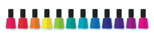 Kleurrijke flessencontainers voor luxe elegante modieuze manicure en pedicure Royalty-vrije Stock Afbeeldingen