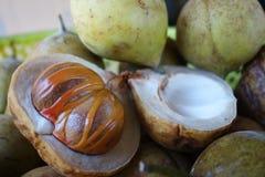Kleurrijke foto van Notemuskaatfruit stock foto's