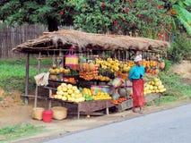 Kleurrijke fruitbox langs weg met glimlachende verkoper, platteland Madagascar Stock Afbeeldingen
