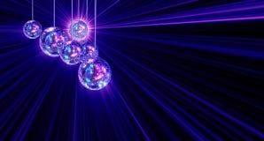 Kleurrijke funky achtergrond met de ballen van de spiegeldisco Stock Afbeelding