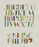 Kleurrijke funky illustratie met hand getrokken doopvont met broedsels Abcbrieven van a aan z, cijfers van 0 tot 9 op rug worden  Royalty-vrije Stock Afbeeldingen