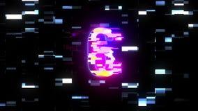 Kleurrijke futuristische laserglitch aftelprocedure van 10 tot 1 interferentie achtergrondaantallen van 10 tot 1 nieuwe dynamisch vector illustratie