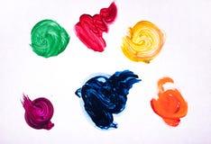 Kleurrijke geïsoleerde borstelslagen Stock Fotografie