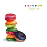 Kleurrijke geïsoleerdep makarons Waterverf het schilderen Stock Foto