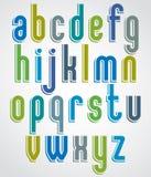 Kleurrijke geanimeerde doopvont, rond gemaakte kleine letters met uit wit Stock Afbeeldingen
