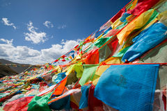 Kleurrijke gebedvlaggen Stock Fotografie