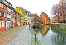 Kleurrijke gebouwen in Colmar, Frankrijk Stock Foto