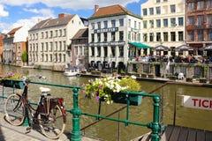 Kleurrijke gebouwen gent belgië royalty-vrije stock afbeelding