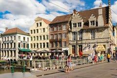 Kleurrijke gebouwen gent belgië royalty-vrije stock foto's