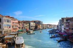 Kleurrijke gebouwen langs Grand Canal in Venetië Royalty-vrije Stock Afbeeldingen