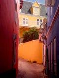 Kleurrijke gebouwen in Punda, Curacao Stock Foto's