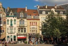 Kleurrijke gebouwen in sint-Baafsplein gent belgië royalty-vrije stock afbeeldingen