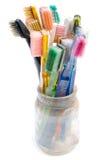Kleurrijke Gebruikte Tandenborstels Stock Foto