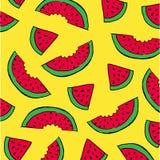 Kleurrijke gele achtergrond met de plakken van watermeloen Royalty-vrije Stock Fotografie