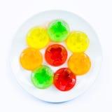 Kleurrijke gelei op een plaat Stock Foto