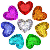 Kleurrijke gemmen in vorm van hart die op wit wordt geïsoleerd Stock Foto's