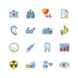 Kleurrijke geneeskundepictogrammen Royalty-vrije Stock Foto