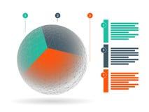 Kleurrijke geometrische bolzaken grafisch met verklarende die tekstgebieden op witte achtergrond worden geïsoleerd Stock Foto