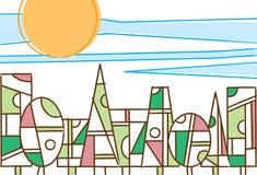 Kleurrijke geometrische bomen in een bosdaglicht stock illustratie