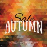 Kleurrijke geometrische kaart als achtergrond met het embleem van de de herfstverkoop De uitstekende banner van de de herfst geom Royalty-vrije Stock Foto