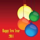 Kleurrijke geometrische Kerstmisbellen met tekst Stock Afbeeldingen
