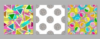 Kleurrijke geometrische naadloze patronen Heldere achtergronden trendy stock illustratie