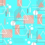 Kleurrijke in geometrische vlakke elementen van patroon Memphis De cyaanblauw en van de koraal roze kleur textuur van de Pop-arts royalty-vrije illustratie