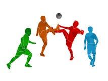 Kleurrijke geometrische voetballer Stock Foto