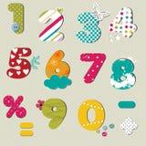 Kleurrijke geplaatste aantallen Stock Foto's